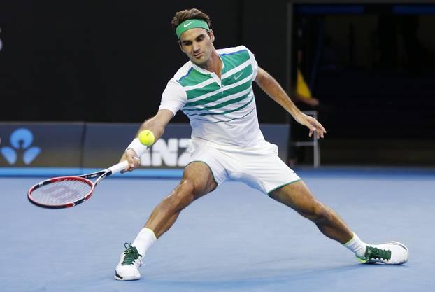 Eine lockere Vorhand von Roger Federer.