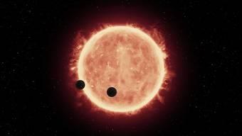 Rote Zwerge sind viel masseärmer und leuchten viel schwächer als unsere Sonne. Die bewohnbare Zone, die flüssiges Wasser ermöglichen könnte, liegt deshalb viel näher. (Illustration)