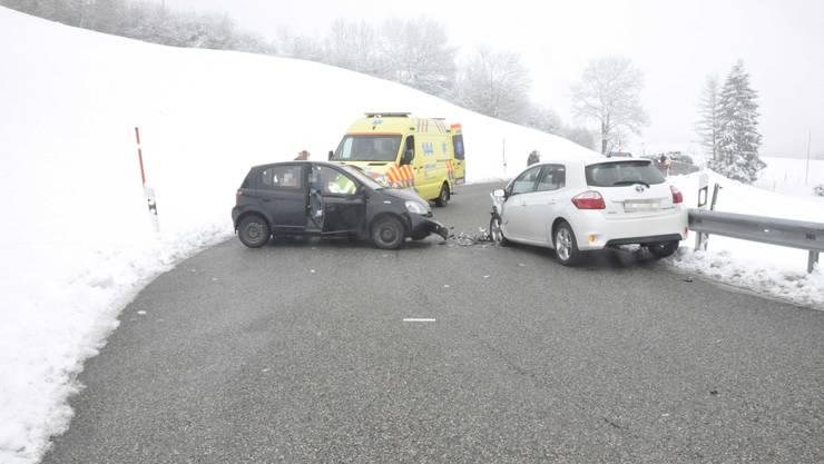 Die Lenkerin des schwarzen Autos wurde verletzt mit der Ambulanz ins Spital gebracht.