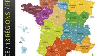 Frankreich soll in 13 Regionen unterteilt werden.