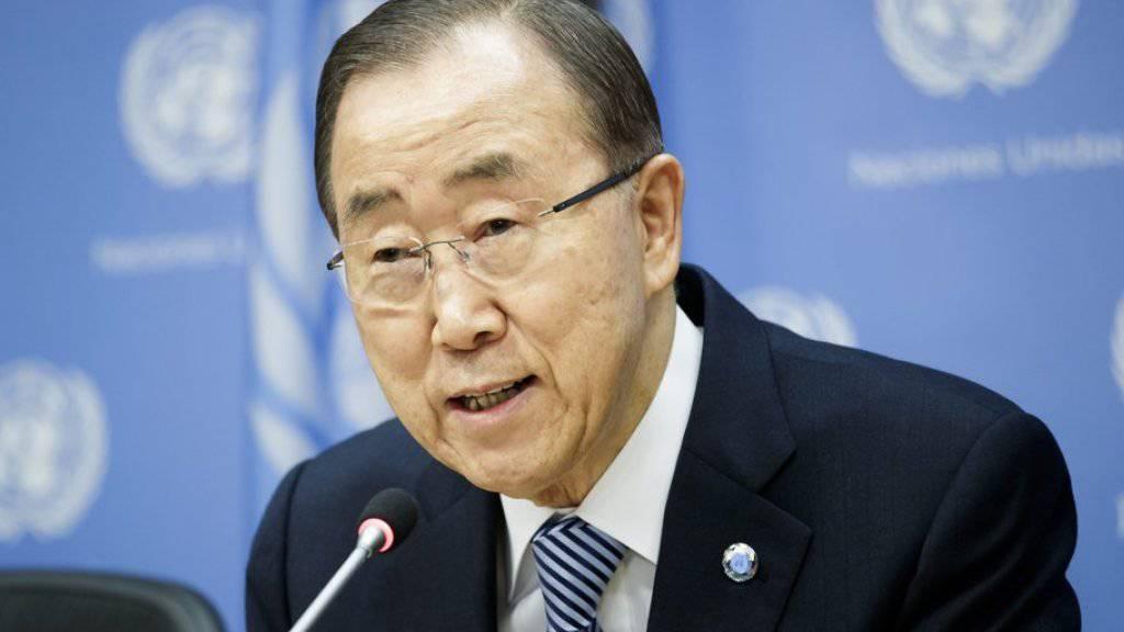 Ban Ki Moon bei seiner letzten Medienkonferenz als UNO-Generalsekretär am Freitag in New York.
