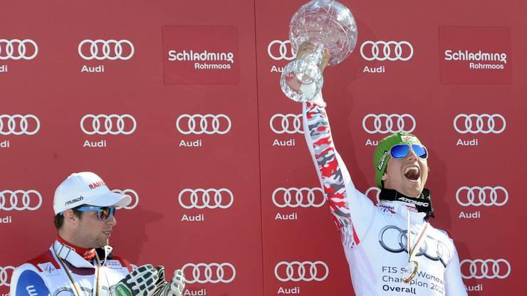 2012 gewinnt Marcel Hirscher zum ersten Mal den Gesamtweltcup.