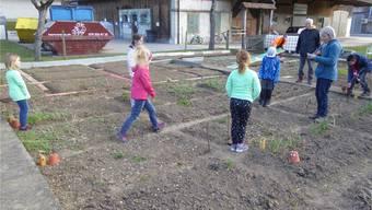 Am ersten Kurstag erhielt jedes Kind sein eigenes Gartenbeet.