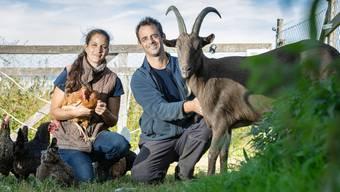 Franziska und Daniel Schmid mit Ziegenbock Hari und einigen der geretteten Legehennen.