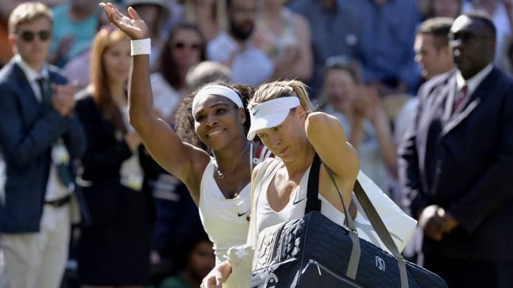 Williams freut sich nach ihrem Halbfinal-Sieg gegen Scharapowa in Wimbledon 2015