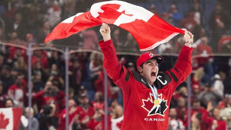 Kanadas Captain Dillon Dube freut sich überschwänglich über den U20-WM-Titel