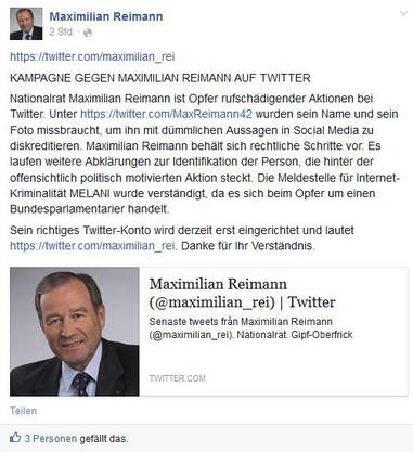 Maximilian Reimann weist auf seinem Facebook-Accout auf den Fake-Account hin