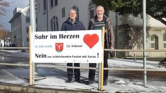 «Ich sehe keine Vorteile für Suhr»: Martin Saxer (67, l.) und Andreas Ort (65) kämpfen als Exponenten der IG Suhr gegen eine Fusion mit der Kantonshauptstadt. Nadja Rohner