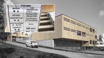 """""""Made in China"""": Die Pflastersteine von weit her wurden in der Häsigasse verbaut. Für den neuen Werkhof (hier die Visualisierung) will die Gemeindeversammlung keine ökologischen Baukriterien."""