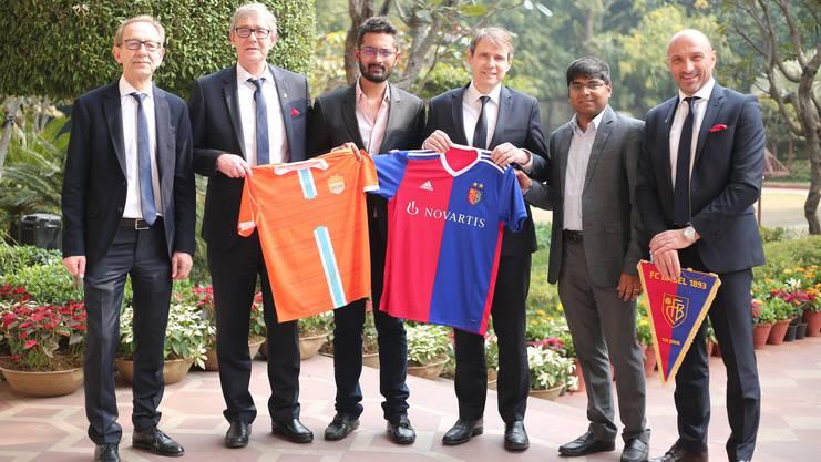 Peter Martin Von Bueren (CFO) FC Basel, Roland Heri (CEO) FC Basel, Rohit Ramesh, Co-owner-Chennai City FC, Bernhard Burgener (President) FC Basel, R Krishnakumar Co-owner- Chennai City FC, Massimo Ceccaroni.