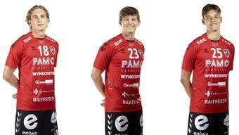 Haben ihre Verträge beim HSC Suhr Aarau verlängert: Daniel Parkhomenko (l.), Dylan Brandt (M.) und Jonas Kalt.