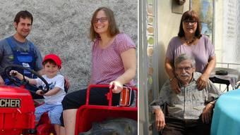 Längst in der Schweiz angekommen: Michaela Leber (auf Traktor) mit Mann Frank und Söhnchen Felix. Für die Liebe nach Deutschland und seit 47 Jahren verheiratet: Yvonne und Joachim Weszkalnys (rechts).