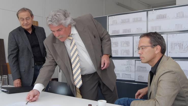 Projektpräsentation: Die Initianten (von links) Walter Meier, Josef Bühler und Thomas Endress.