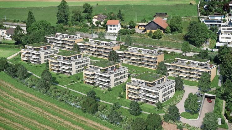So soll die Überbauung in Zufikon im fertigen Zustand mit freigelegtem Stiegelenbach aussehen.