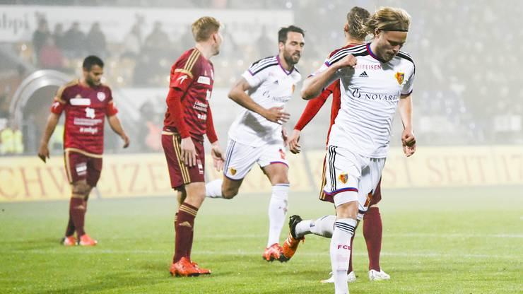 Birkir Bjarnason jubelt über den Treffer. Jubelt er bald über seinen ersten Titel mit dem FCB?