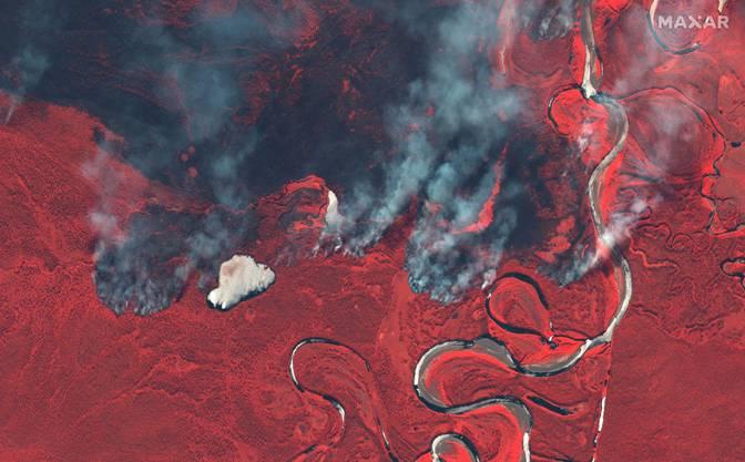 Rauch von Waldbränden in Sibirien.