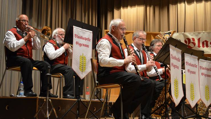 Die Musikanten der Blaskapelle Eigenamt spielen konzentriert.