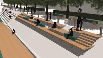 «Rheinterrassen» sollen bestehende Sitzstufen bei der Mittleren Brücke erweitern