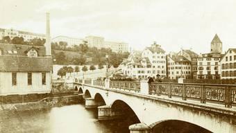 Bahnhofbrücke, Escher-Wyss-Fabrik und Niederdorf: Zürich in einer Ansicht von 1865.