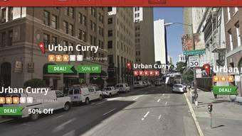 Das Leben durch die Augmented-Reality-App Yelp betrachtet. Damit findet man nicht nur das beste Curry, sondern auch das billigste. HO