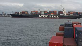 Unter den Grossen nur ein Mittlerer, doch aus der Perspektive des Rheinschiffs riesig: Die Containerschiffe werden immer grösser (hier im Hafen Rotterdam).