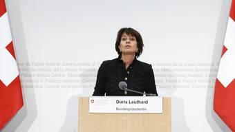 Kurze Rede, keine Fragen – Leuthards denkwürdiger Auftritt gestern.