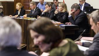 Kantonsrat 2018. Der Regierungsrat v.l. Susanne Schaffner, Roland Fürst, Roland Heim, Brigit Wyss, Remo Ankli
