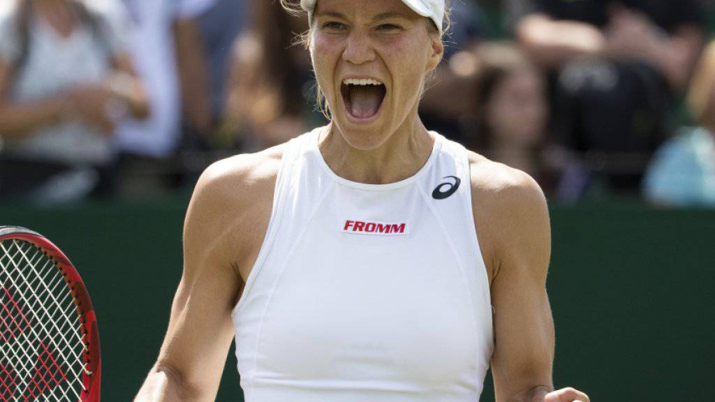 Viktorija Golubic freut sich über den zweiten Sieg in Wimbledon