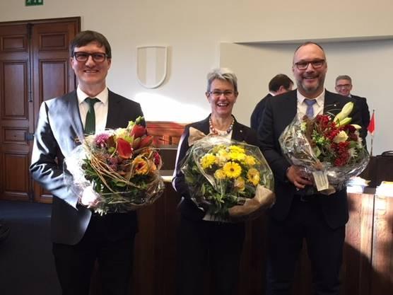 Verena Meyer wurde am Mittwoch, 12.Dezember glanzvoll zur neuen Kantonspräsidentin gewählt. Daniel Urech (links) ist 1. Vizepräsident, Hugo Schumacher 2.Vizepräsident.