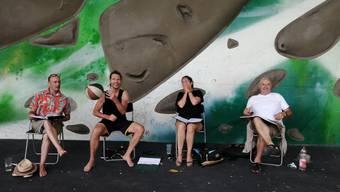 Das Team von Mord_4057 (von links): Simon Grossenbacher, Armin Biehler, Miriam Wittlin, Andrea Bettini. Es fehlen: Simona Roth und Jürgen Buchinger.