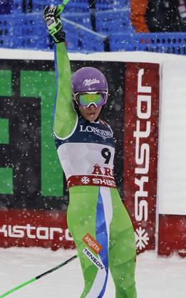 Ilka Stuhec jubelt nach ihrer Zieleinfahrt – später darf sie sich über die Goldmedaille freuen.