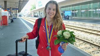 Die Fislisbacherin bei ihrer Ankunft am Montag am Bahnhof in Aarau.