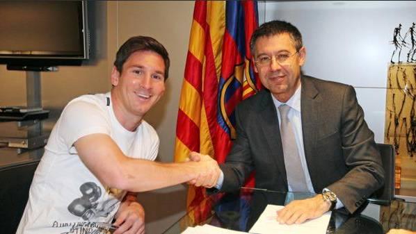 Lionel Messi heute Donnerstag kurz vor der Vertragsverlängerung mit Barcelona.