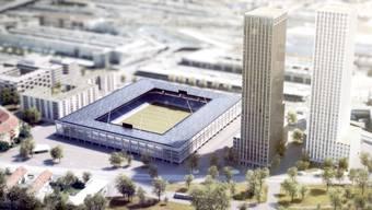 So könnte es aussehen: Das Hardturm-Areal in Zürich aus der Vogelperspektive mit Stadion, gemeinnützigem Wohnungsbau und zwei Hochhäusern.