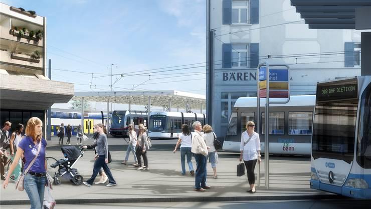 Beim Bahnhof Dietikon wird die Limmattalbahn dereinst auf Bus, Zug und BD-Bahn treffen. zvg/Visualisierung