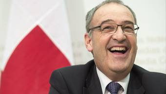 Guy Parmelin an der Bundesmedienkonferenz.