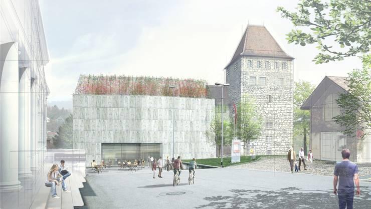 Das neue Stadtmuseum mit Blüten-Dach. Auch die Nord- und die Westfassade werden begrünt.