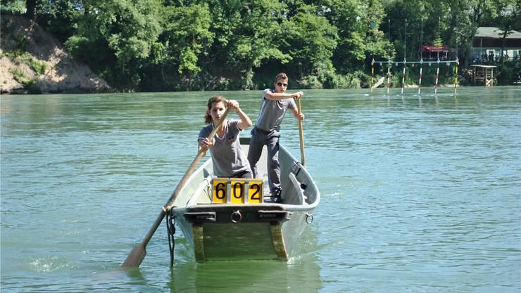 Die Vereine vom Rhein (hier Rheinfelden) haben beim Eidgenössischen Pontonierwettfahren einen Vorteil: Sie sind sich Strömung und Breite des Flusses gewohnt. nbo