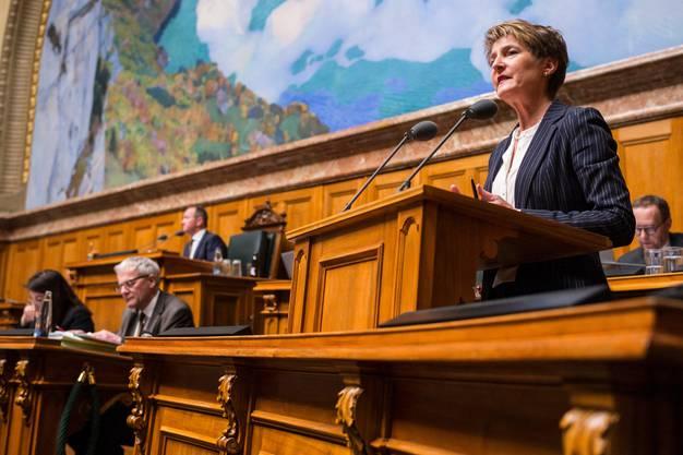 Flog mit 15 Stunden am wenigsten: Bundesrätin Simonetta Sommaruga. (KEYSTONE/Alessandro della Valle)