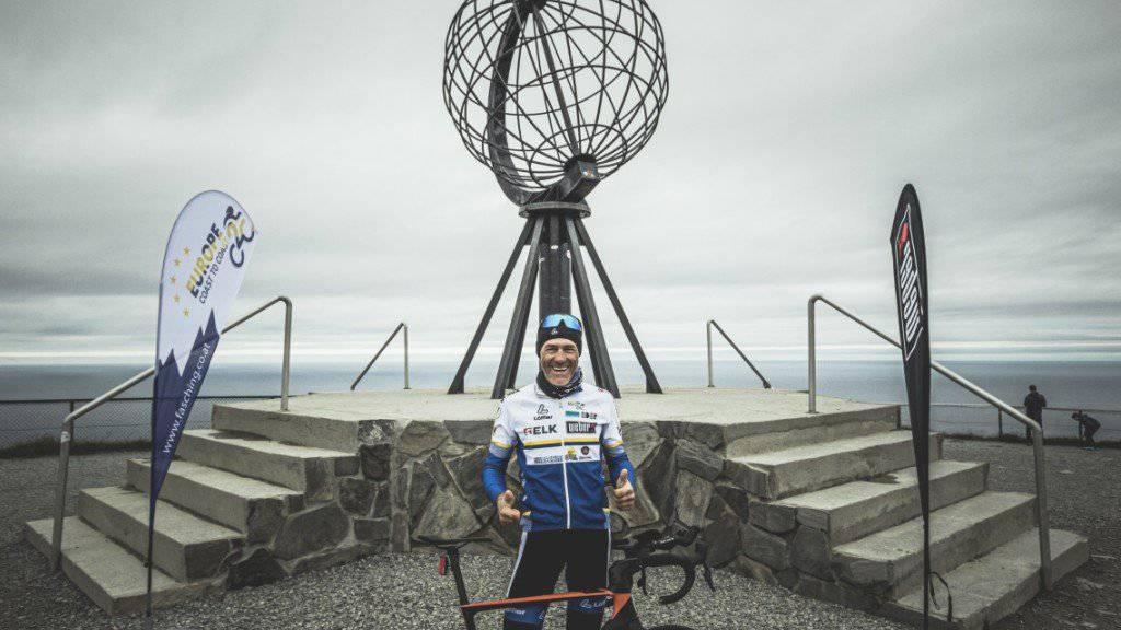 Der österreichische Extremsportler Wolfgang Fasching ist mit dem Fahrrad in Rekordzeit von Gibraltar bis zum Nordkap gefahren.