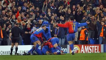Grenzenlose Freude bei den Spielern des FC Basel nach einem der drei Tore.