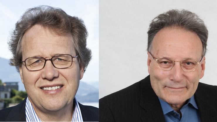 Die Historiker und Buchautoren Josef Lang (l.) und Primin Meier.