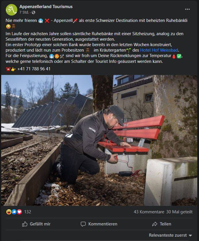 Appenzellerland Tourismus 1. April Scherz