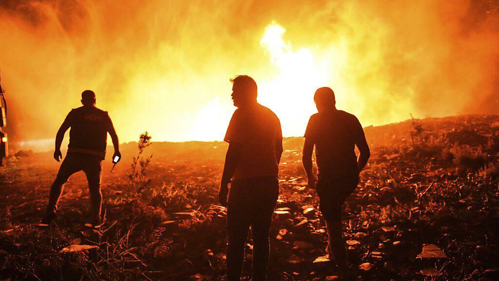 dpatopbilder - Feuerwehrleute und Dorfbewohner versuchen ein Feuer in der Provinz Antalya unter Kontrolle zu bringen. Foto: Uncredited/AP/dpa