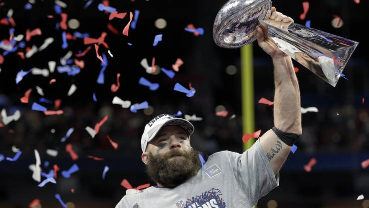 New England Patriots' Julian Edelman was named the Most Valuable Player.