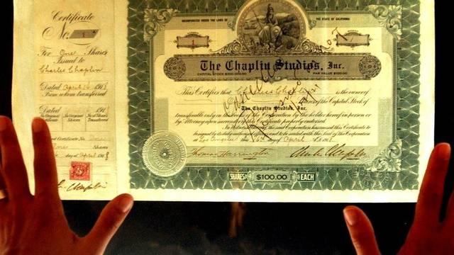 Die Gründeraktie Nummer 1 der Chaplin Studios (Symbolbild)