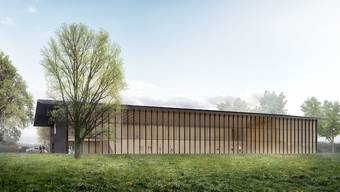 In filigraner Holzbauweise: So soll die neue Mehrzweckhalle beim Waffenplatz Bremgarten aussehen.Visualisierung: Quelle VBS/DDPS