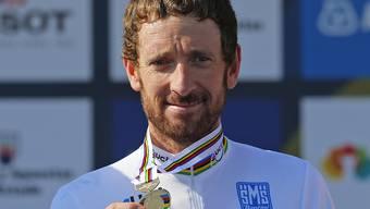 Bradley Wiggins - im Bild nach dem Gewinn der Goldmedaille im Zeitfahren der Strassen-WM 2014 in Ponferrada (Sp) - tritt in Grenchen nicht zur Einzelverfolgung an. Damit platzt das Duell mit dem Schweizer Weltmeister Stefan Küng