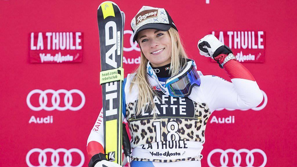 Nach ihrem Abfahrtssieg am Freitag schaffte es Lara Gut in La Thuile auch im abschliessenden Super-G am Sonntag als Zweite in die Top 3