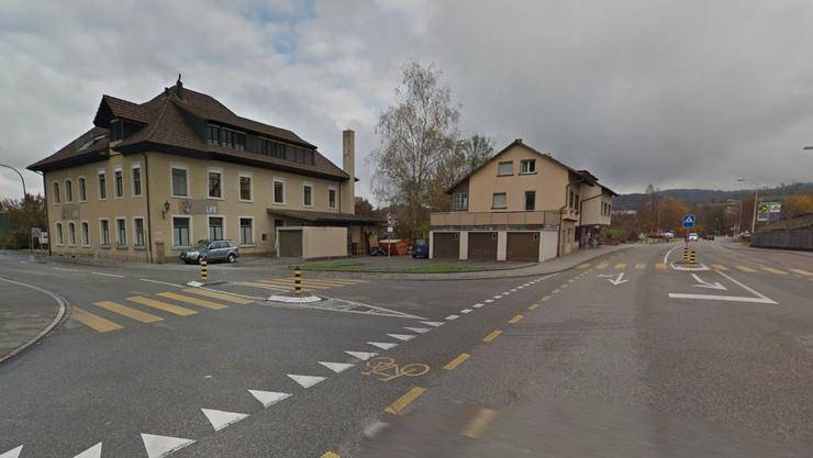 Kreuzung Strengelbacherstrasse und Rotfarbstrasse: Hier fliesst die Altachen unterirdisch.